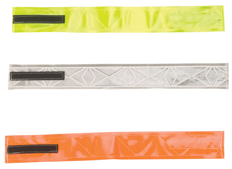 Three Fluorescent Reflective Armband Strips With Black Velcro Material In Yellow, White, and Orange