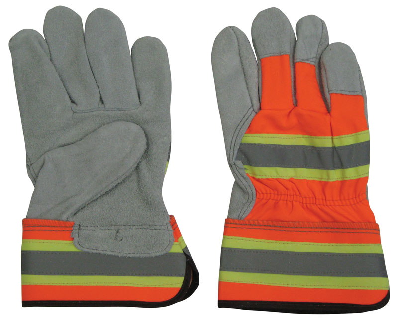 One Pair of Grey Safety Gloves With Fluorescent Orange and Yellow Stripes