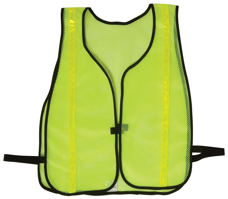 Yellow Reflective Vest With Mesh Fabric and Black Trim