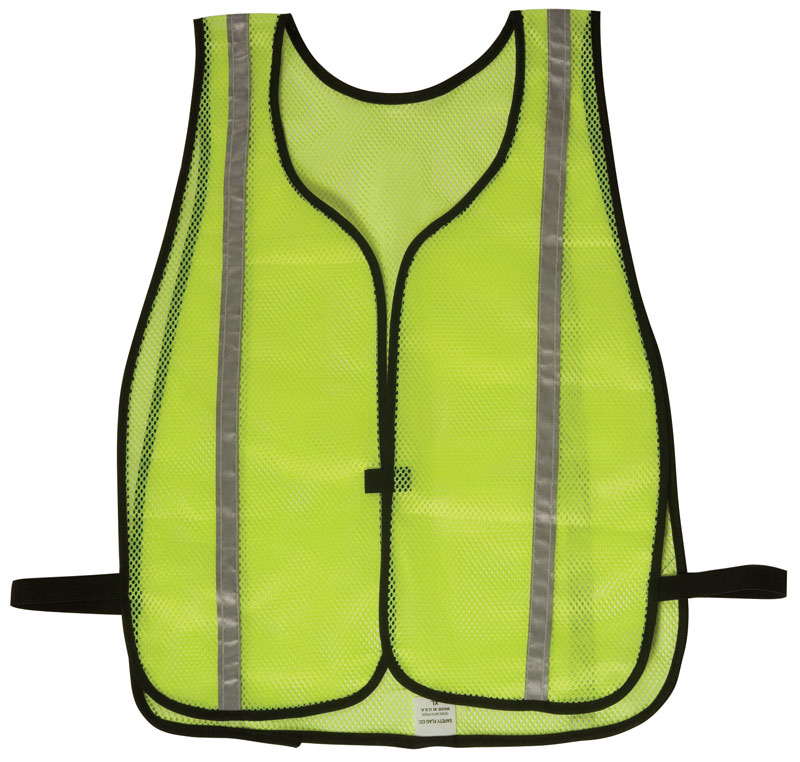 Yellow Hi Vis Mesh Vest With Silver Reflective Stripe and Black Trim