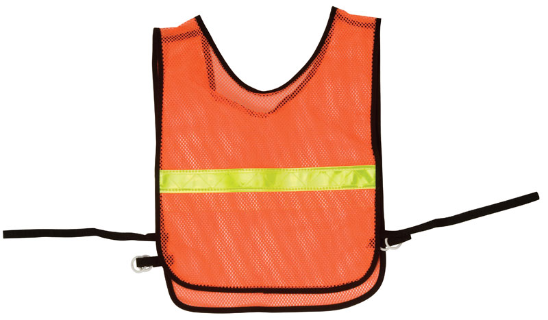 Mesh Orange Safety Wear Vest With Yellow Reflective Stripe Across