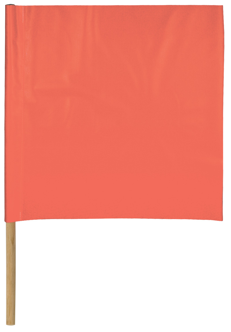 Orange Vinyl Flags With Wooden Dowel For Handle