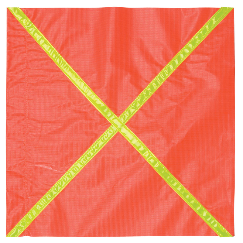 Orange Vinyl Reflective Flag With Fluorescent Yellow X Material Going Across