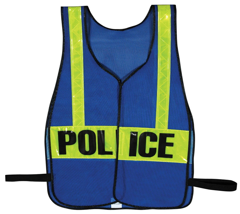 Blue Police Work Vest With Yellow Reflective Strips
