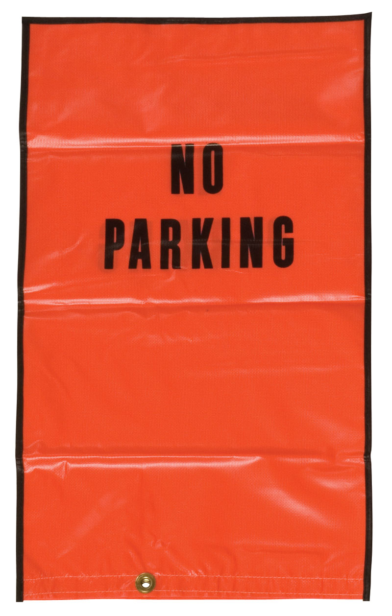 Orange Parking Lot Safety Meter Hoods With No Parking Printed Ontop