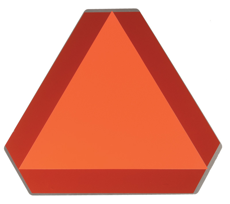 Triangular Slow Moving Vehicle Sign With Red Reflective Border and Orange Inner Triangle