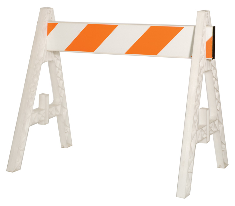 Orange and White Striped Plastic Barricades With A Frames On Both Ends