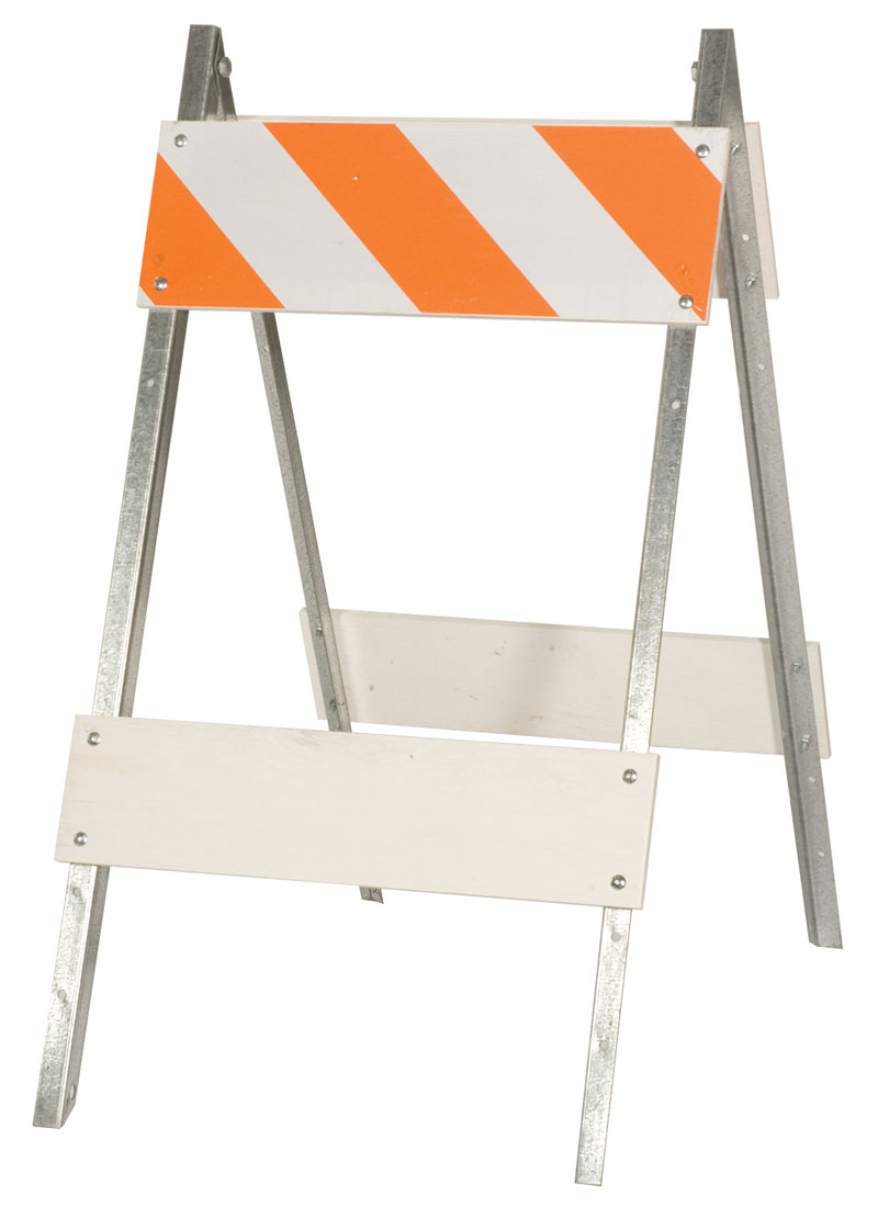 Orange and White Striped Safety Barricades With Steel