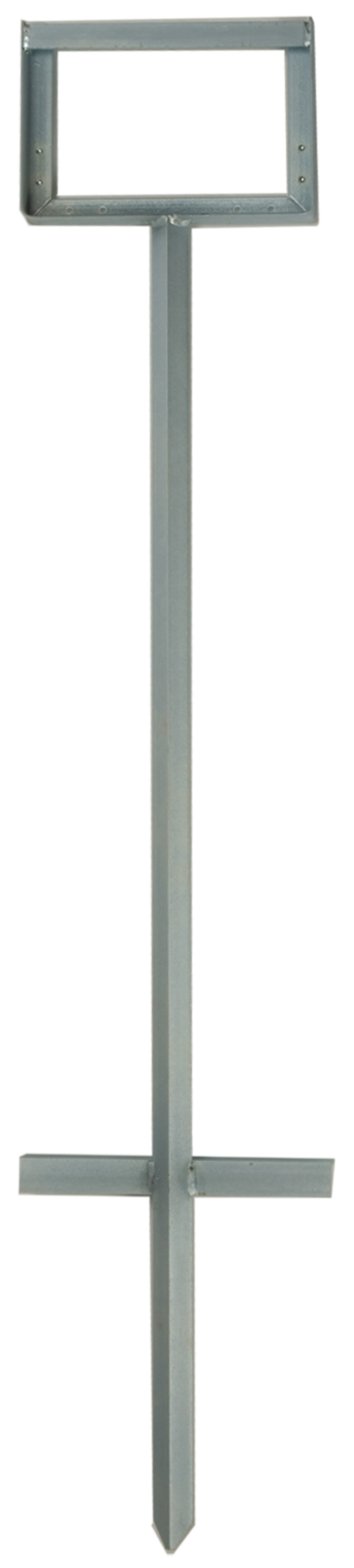 Metal Road Sign Stands With A Rectangular Top And Extends With An Intersection At The Base