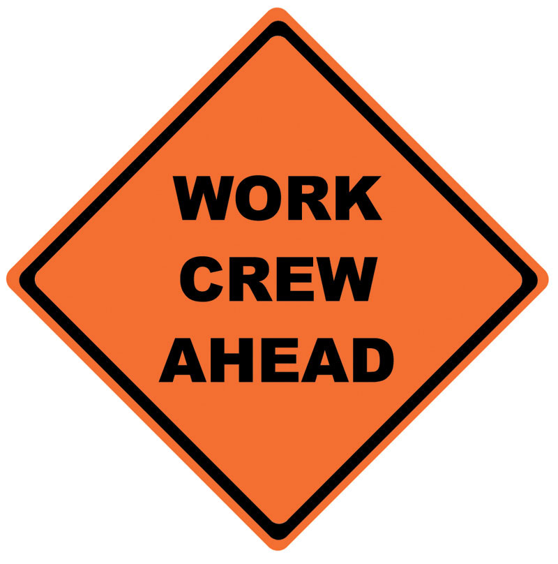 Orange Diamond Work Crew Ahead Roll Up Signs