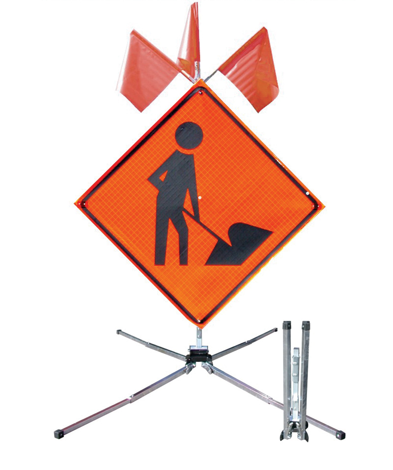 Orange Construction Site Sign With Red Flags Ontop Supported By Metal Roll Up Stand
