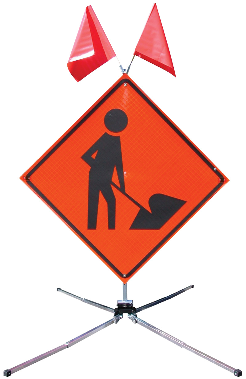 Construction Sign Stands With Orange Sign and Red Flags Ontop Supported By Metal Frame