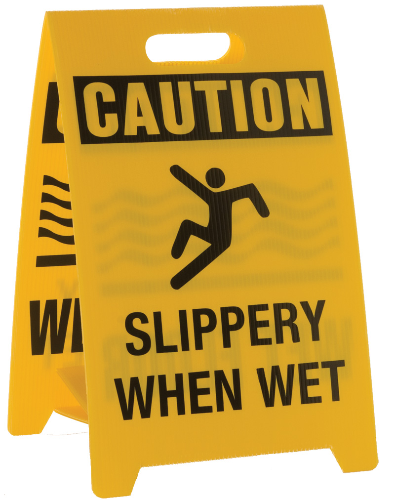 Yellow Double-Sided Caution Slippery Floor Sign Stand
