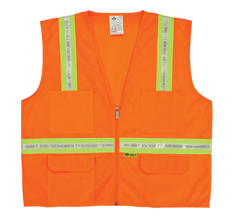 Orange Surveyors Vest WIth Pockets And Yellow Contrasting Stripes