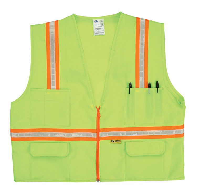 Yellow vest with orange stripes.