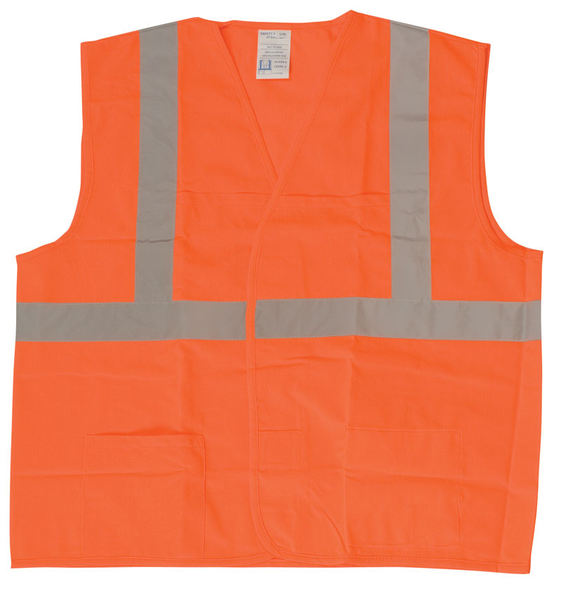 Orange Sleeveless Safety Vest With Silver Reflective Stripes