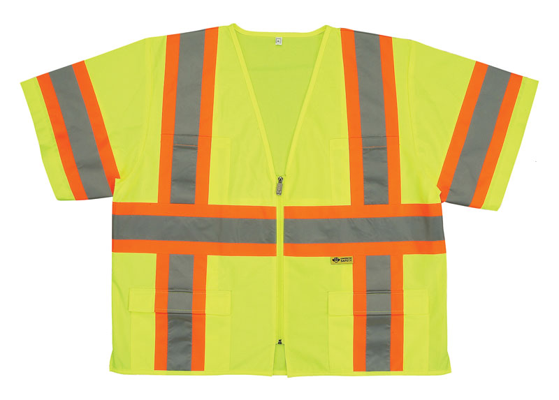 Yellow Class 3 Safety Vest Shirt With Reflective Silver and Orange Stripes