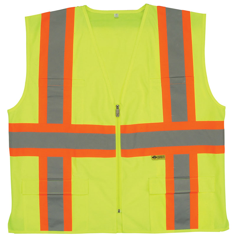 Yellow Class 2 Safety Vest With Orange and Silver Contrasting Stripes Across Front