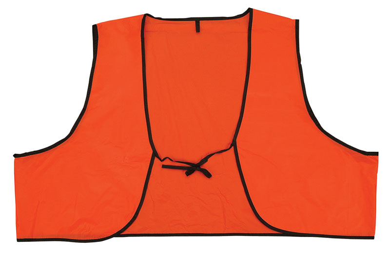 Thin Orange Disposable Safety Vest With Black Trim and Tie-String