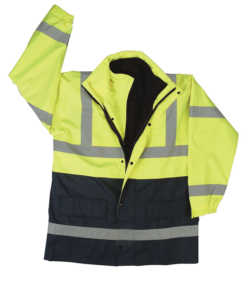 Yellow and Black Heavy Parka Safety Jacket With Silver Reflective Stripes