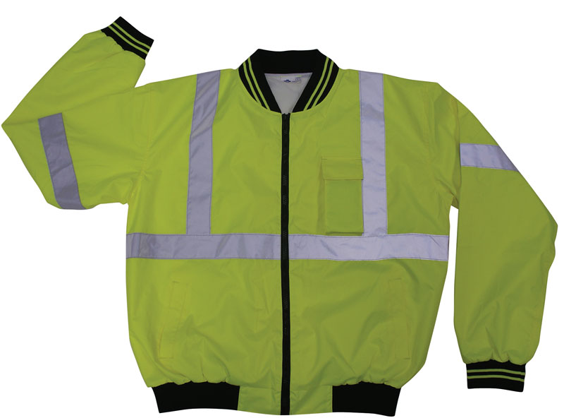 Yellow High Visibility Windbreaker Bomber Jacket With Reflective Silver Stripes