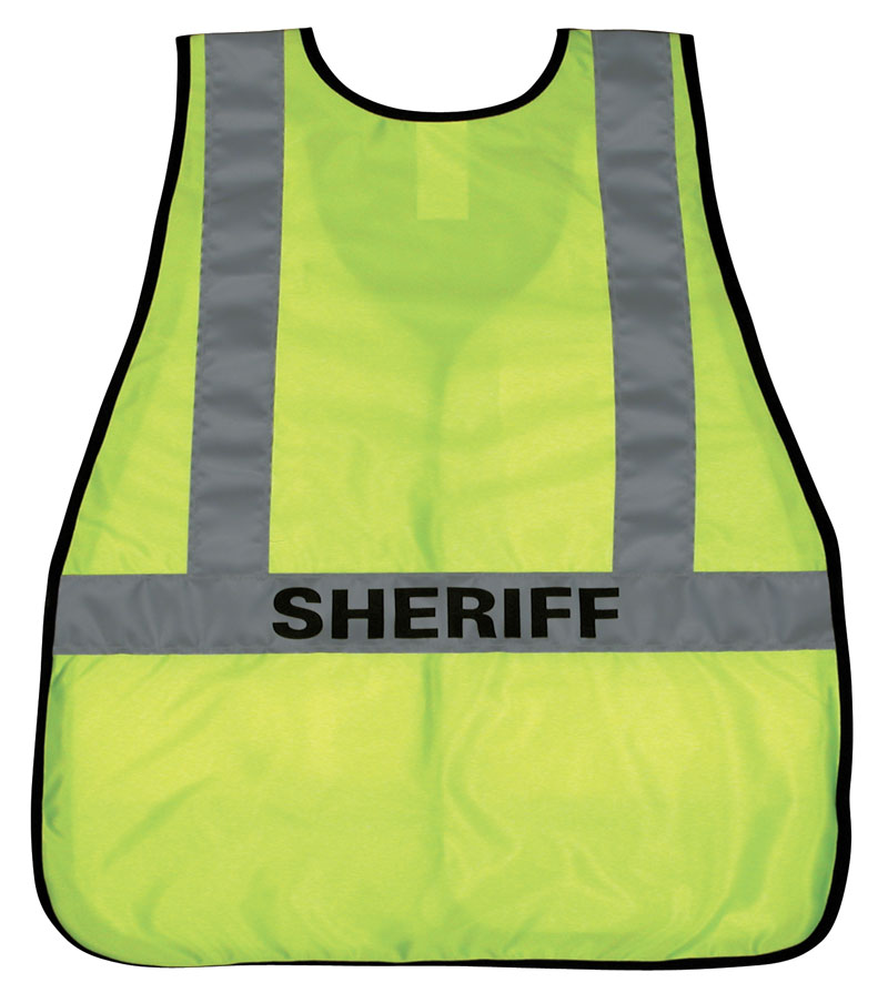 Back-Side of Bright Yellow Public Safety Vest with Silver Stripes and Sheriff Printed Ontop
