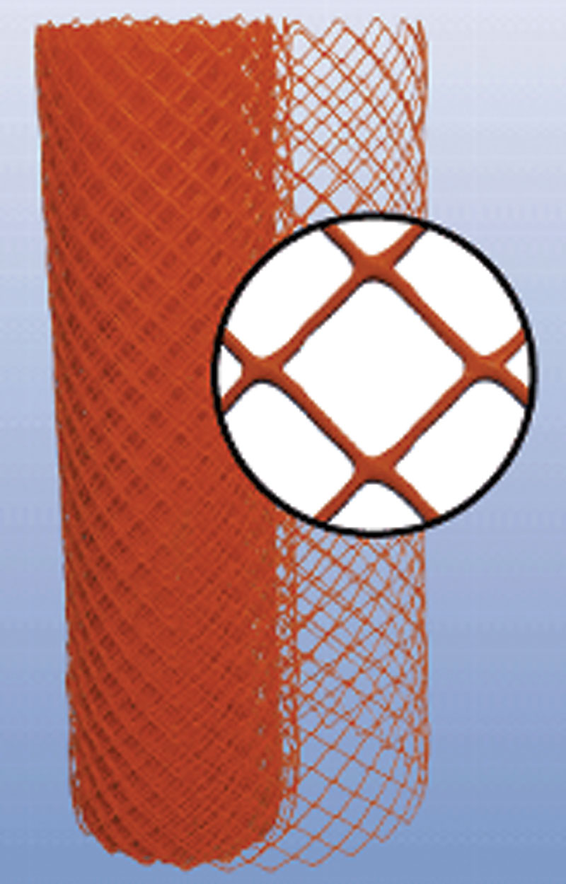 Orange Diamond Grid Safety Fence With a Close-Up of Material
