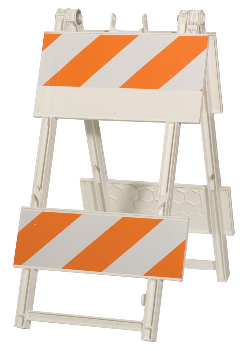 White Barricade Fence With Orange Reflective From Safety Equipment Suppliers