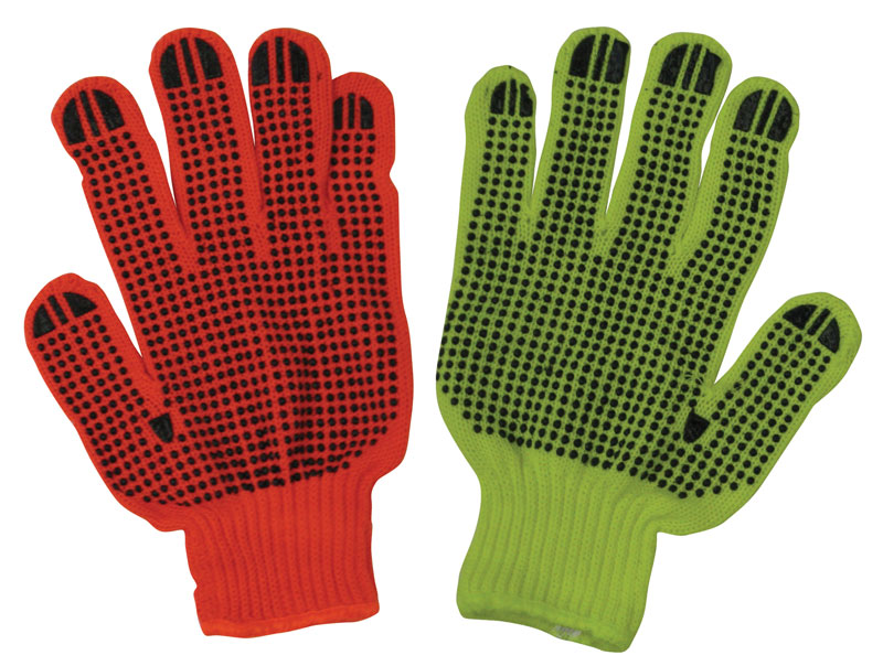 One Left Hand Orange Knit Glove and One Right Hand Yellow Knit Glove With Black Latex Dots
