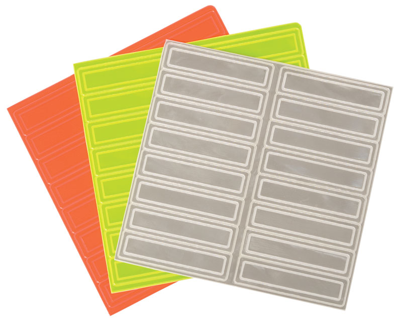 Three Sheets of Reflective Adhesive Tape Strips Of Orange, Yellow, and White