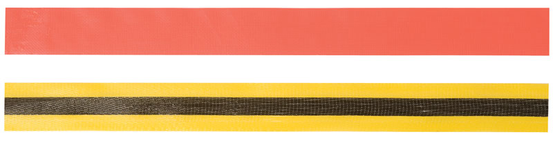 A Strip of Orange Woven Tape On Top of Another Strip of Yellow and Black Woven Tape