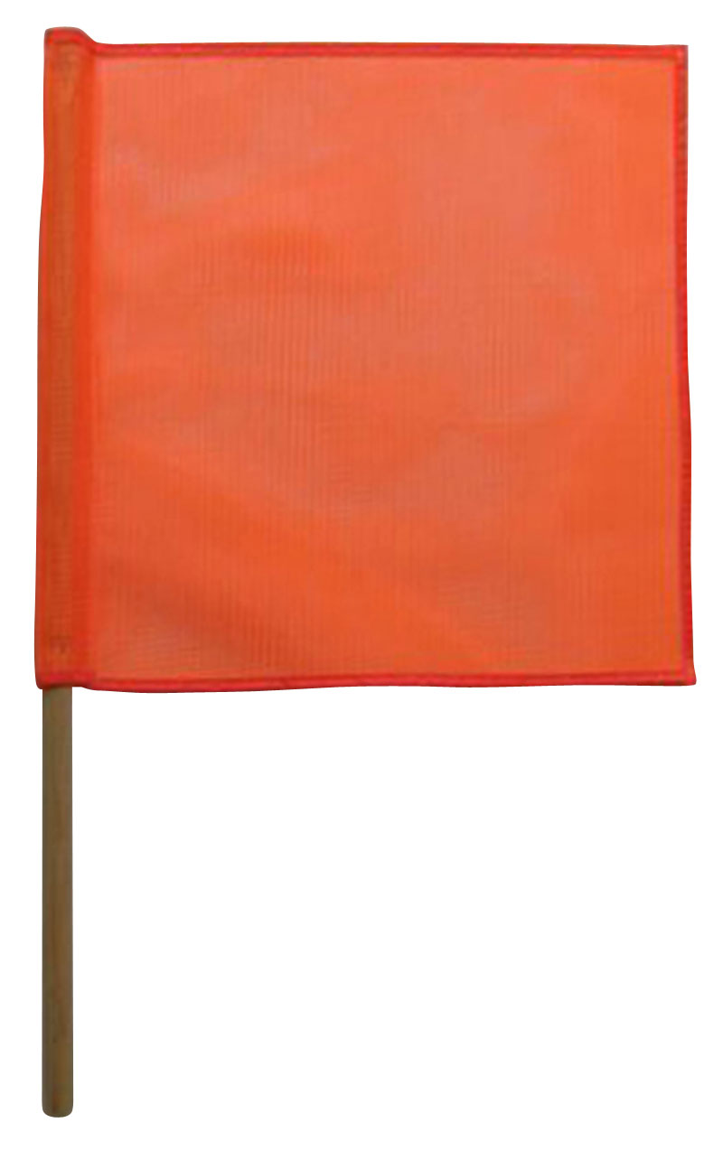 Mesh Orange Safety Flags With Wooden Dowel