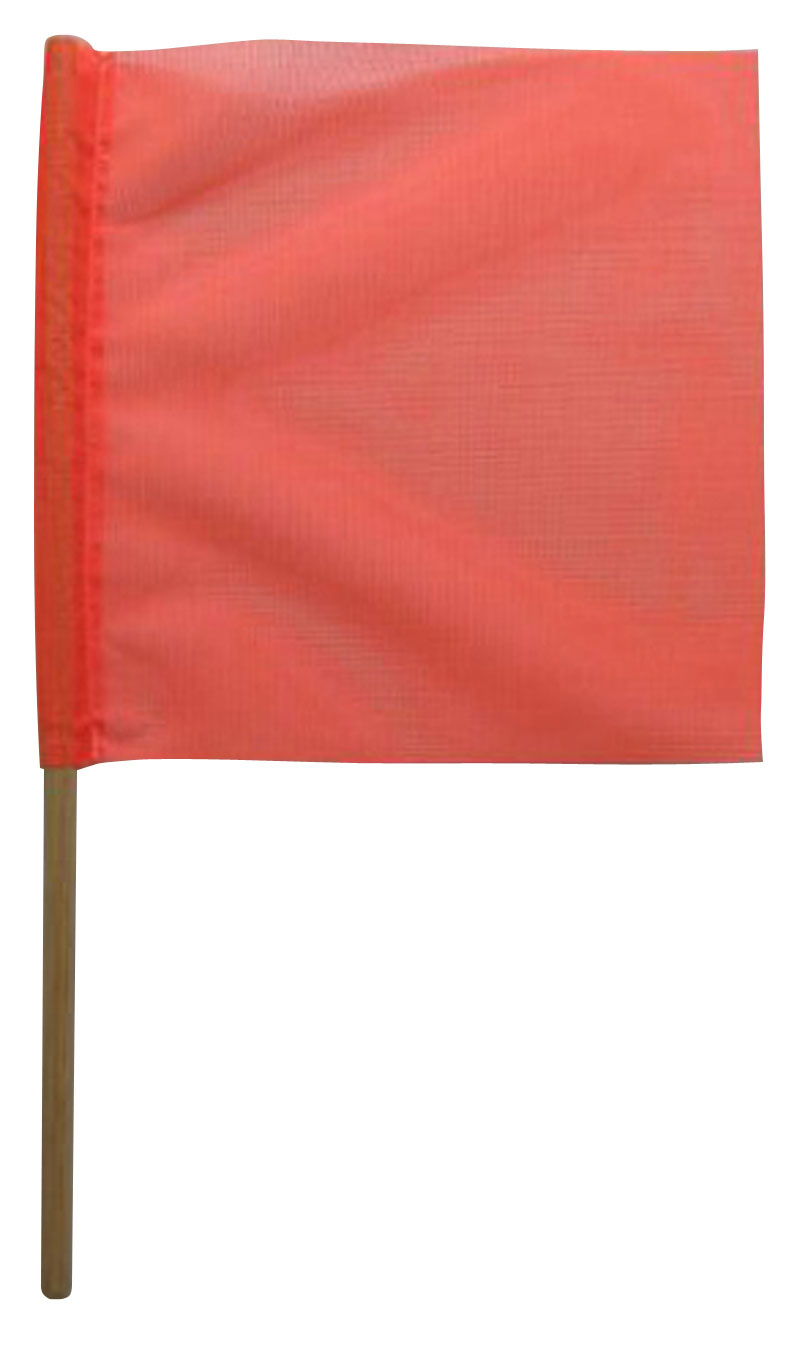 Mesh Red Safety Flags With Wooden Dowel