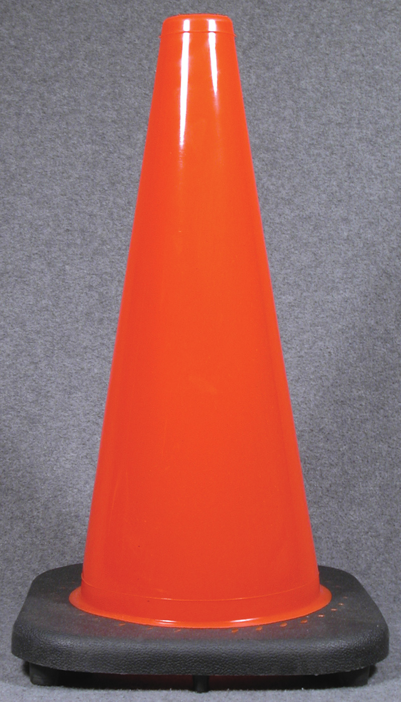 Orange 28 Traffic Cones With Black Rubber Base