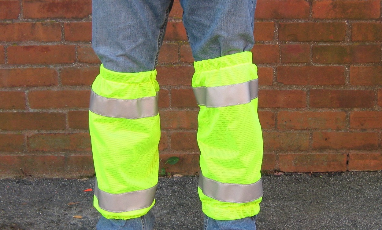 Yellow Class E Safety Pants Leg Gaiters With Silver Stripes
