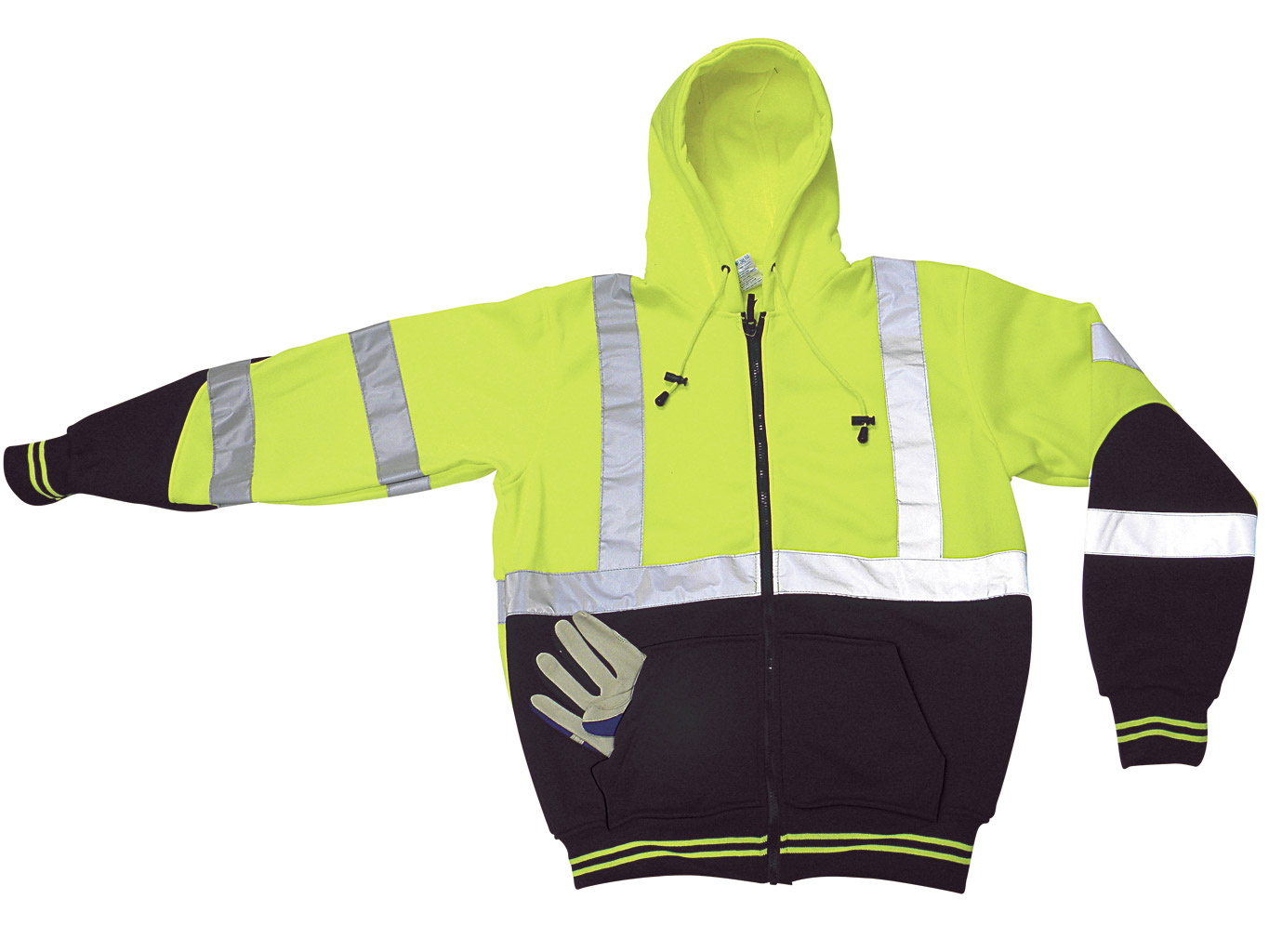 Yellow and Black Hi Viz Hooded Sweatshirt With Silver Reflective Stripes and Drawstrings