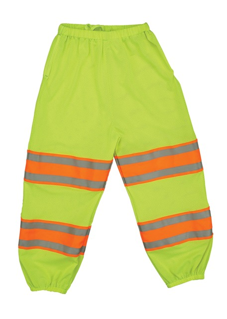 Bright Yellow Safety Pants With Orange and Silver Stripes On The Pant Legs