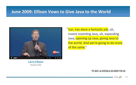 Googles Legal Slides Paint Oracle As A Gold Digger Java As Free