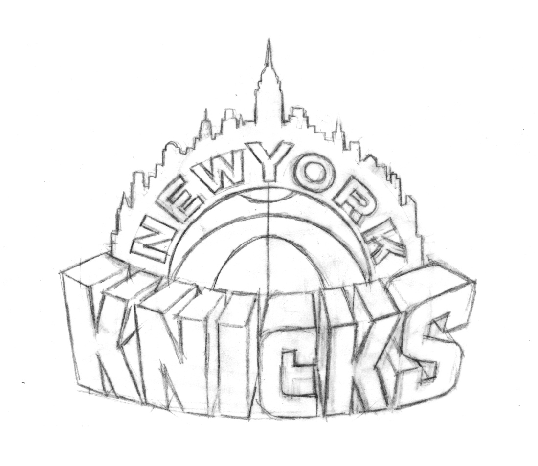 coloring pages sports logos - behind the knicks logo with michael doret sports logos