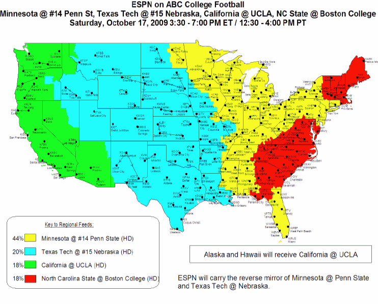Map Of Texas Tech.Nebraska Vs Texas Tech Abc Espn Coverage Map Corn Nation