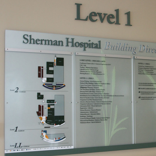 Sherman Replacement Hospital signage