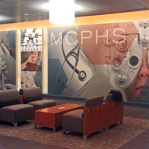 Massachusetts College of Pharmacy and Health Sciences signage
