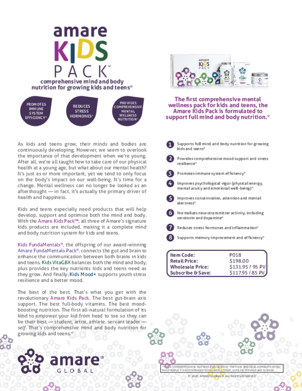 Amare Kids Pack Product Info Page