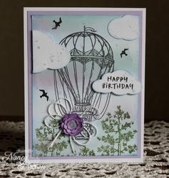 Blueskieshotairballoonbirthdaycard