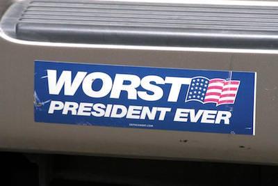 Anti-Bush bumper sticker