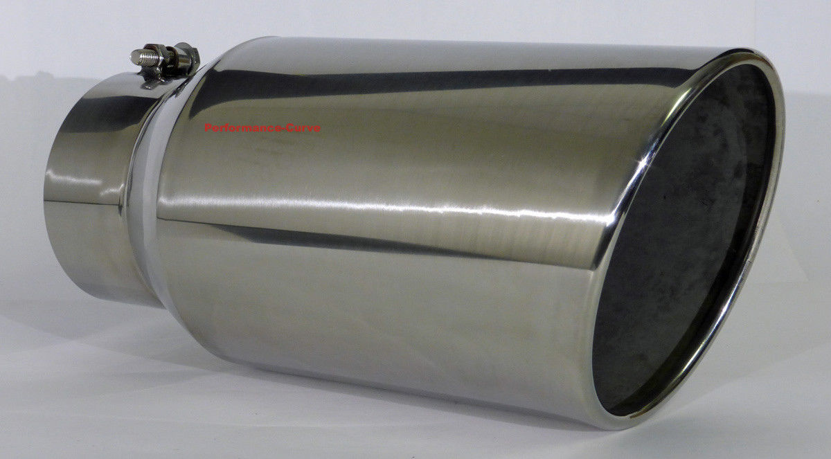 """Diesel Stainless Steel Bolt On Exhaust Tip 5/"""" Inlet 7/"""" Outlet 18/"""" Long"""