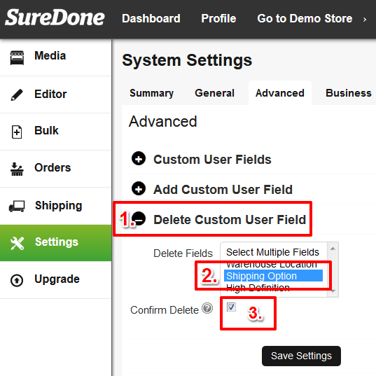 deleting custom fields