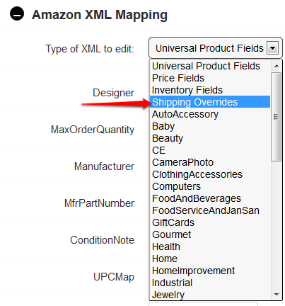 select Shipping Overrides XML mapping