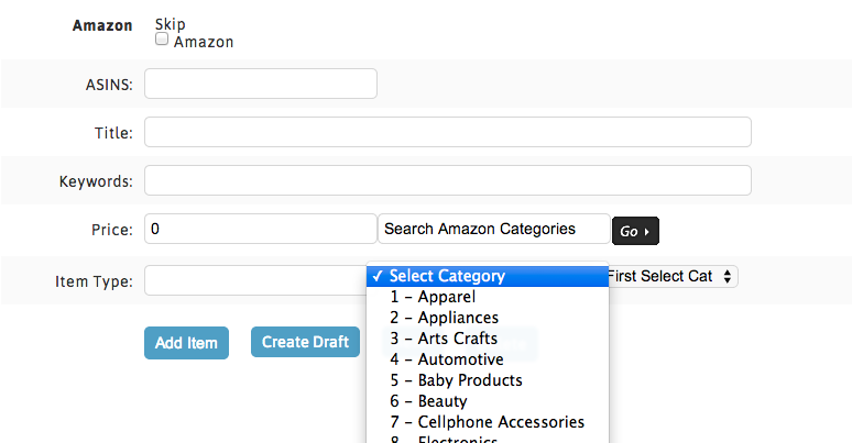 Amazon Category Dropdown