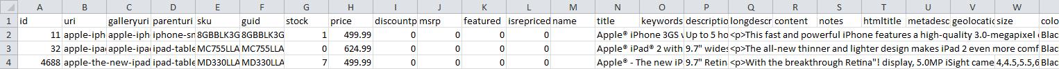 export spreadsheet sample
